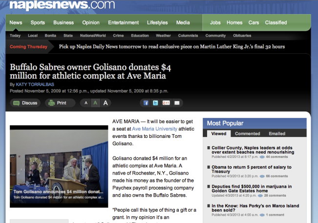 NAPLES DAILY NEWS - GOLISANO DONATES $4 MILLION TO AVE MARIA UNIVERSITY - http-::www.naplesnews.com:news:2009:nov:05:buffalo-sabres-owner-golisano-donates-4-million-at: