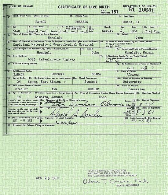 Birth Certificate Cuba Ii: BARACK HUSSEIN OBAMA II