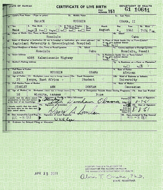 President Obama s Long Form Birth Certificate