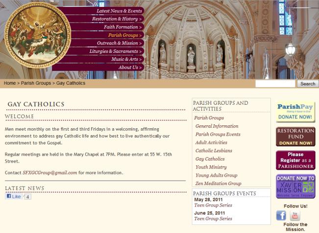 ST. FRANCIS XAVIER CATHOLIC PARISH - NEW YORK CITY (OPENLY GAY)