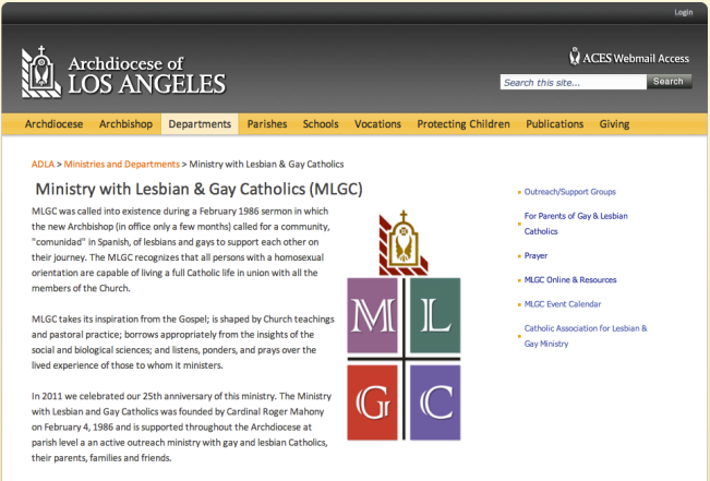 ARCHDIOCESE OF LOS ANGELES - MINISTRY OF LESBIAN & GAY CATHOLICS