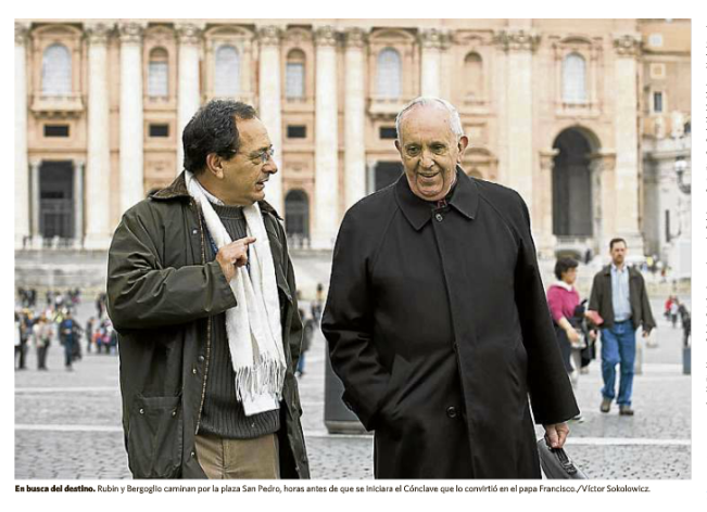 Cardinal Bergoglio walking on St. Peter's Square with his biographer, Sergio Rubin, before the Conclave