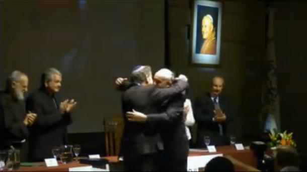 Cardinal Jorge Mario Bergoglio embraces liberal Rabbi Abraham Skorka, who publicly supports homosexual unions.  Bergoglio honored Skorka with a Doctor Honoris Causa at the Pontifical Catholic University of Argentina on Oct. 11, 2012