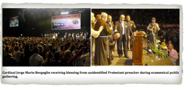 Cardinal Jorge Mario Bergoglio receiving blessing from unidentified Protestant preacher during ecumenical public gathering. 2013-03-14 at 5.31.27 AM