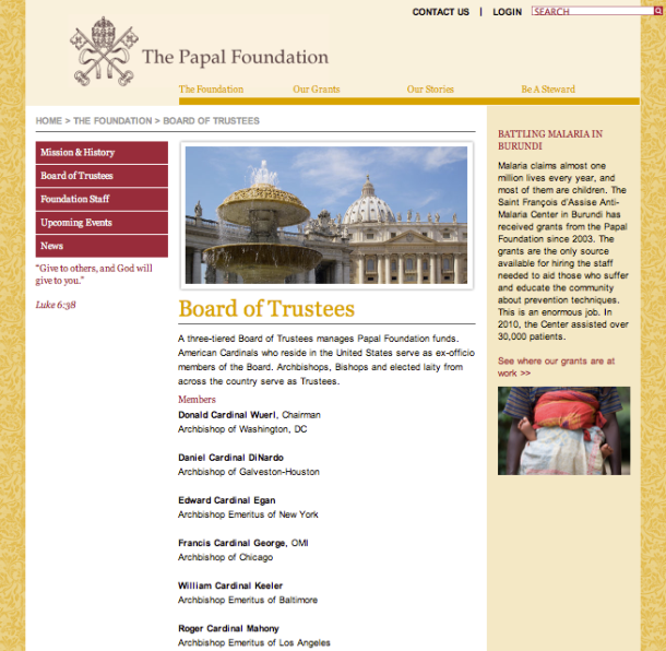 Cardinal Roger Mahony member of the Papal Foundation Board of Trustees under POPE  FRANCIS (JORGE MARIO BERGOGLIO) - SCREEN CAPTION TAKEN 2013-03-14 at 6.18.56 PM (ET)