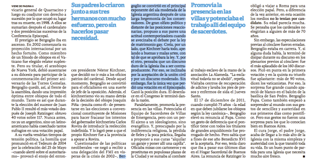 Clarín Special Edition, March 17, 2013 - Page 8 by Cardinal Bergoglio's biographer, Sergio Rubin, outlining Bergoglio's support of homosexual civil unions.