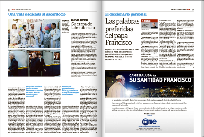 "Clarín - SPECIAL EDITION - Page 8.  Francis, first ""Pope"" to have favored homosexual civil unions.  A special report   by Bergoglio's biographer, Sergio Rubin."