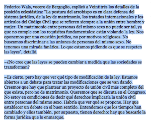 INFONEWS - BUENOS AIRES ARGENTINA - FEDERICO WALS (CARDINAL BERGOGLIO'S PRESS SECRETARY AND PERSONAL ASSISTANT) - STATEMENTS TO THE PRESS REGARDING CARDINAL BERGOGLIO'S POSITION ON HOMOSEXUAL CIVIL UNIONS (MARCH 4, 2010)