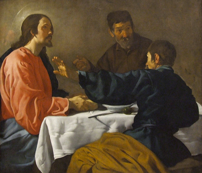 La cena de Emaús de Diego Velázquez (The Supper at Emmaus, Seville, Spain 1622–23 by Diego Rodríguez de Silva y Velázquez 1599–1660)