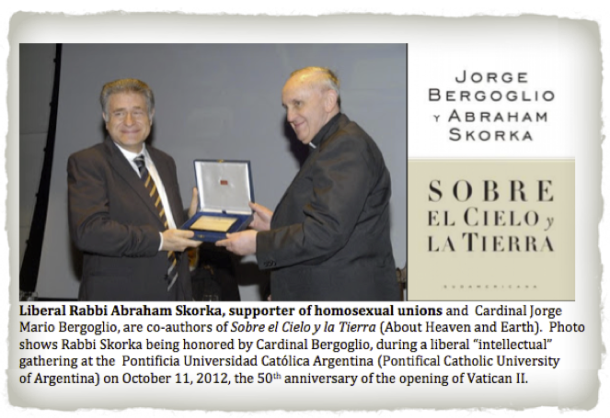Liberal Rabbi Abraham Skorka supporter of homosexual unions, honored by Cardinal Jorge Mario Bergoglio on October 11, 2012 at the Pontifical Catholic University of Argentina - 2013-03-14 at 4.23.25 PM