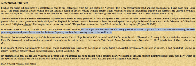"Transcript of Cardinal Sodano's homily on March 12, 2013 ""cleaned-up"" by the Vatican (in English)."