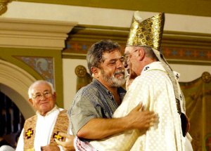Cardinal Hummes and Lula on May 1, 2003 - With Communist Cardinal Paulo Evaristo Arns smiling - MAY DAY FESTIVITIES AT THE ARCHDIOCESE OF SAO PAOLO
