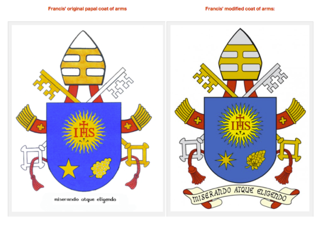 Francis' original and modified coat of arms