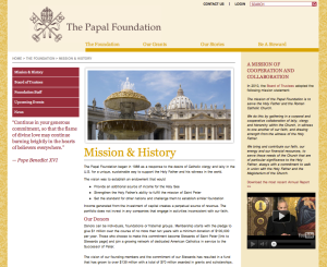 THE PAPAL FOUNDATION - MISSION STATEMENT - APRIL 22, 2013 (CLICK TO ENLARGE)