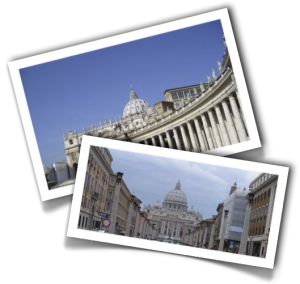 St. Peter's Basilica viewed from Via della Conciliazione and Saint Peter's Square