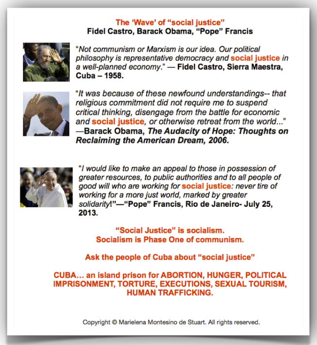 THE 'WAVE' OF %22SOCIAL JUSTICE%22 - FIDEL CASTRO, BARACK OBAMA, %22POPE%22 FRANCIS - Copyright © Marielena Montesino de Stuart. All rights reserved.