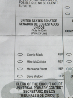 BALLOT - PRIMARY - U.S. SENATE (REPUBLICAN) 2012 - FLORIDA