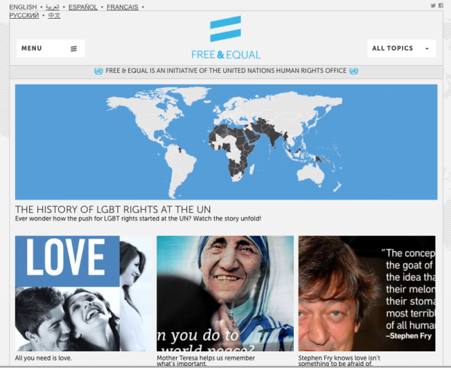 MOTHER TERESA FEATURED IN UNITED NATIONS FREE AND EQUAL LGBT (LESBIAN, GAY, BISEXUAL AND TRANSGENDER) HUMAN RIGHTS CAMPAIGN - FEBRUARY 9, 2014