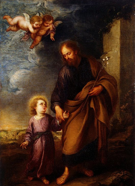 ST. JOSEPH LEADING THE CHRIST CHILD BY Bartolomé Esteban Murillo (Spain)