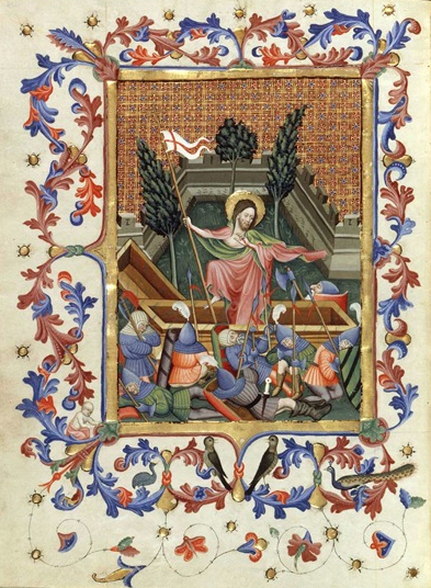 THE RESURRECTION - Breviary of King Martín of Aragón (1356-1410). Work on his breviary began circa 1400 in the monastery of Poblet in Catalonia-- and was completed around 1420 to 1430.