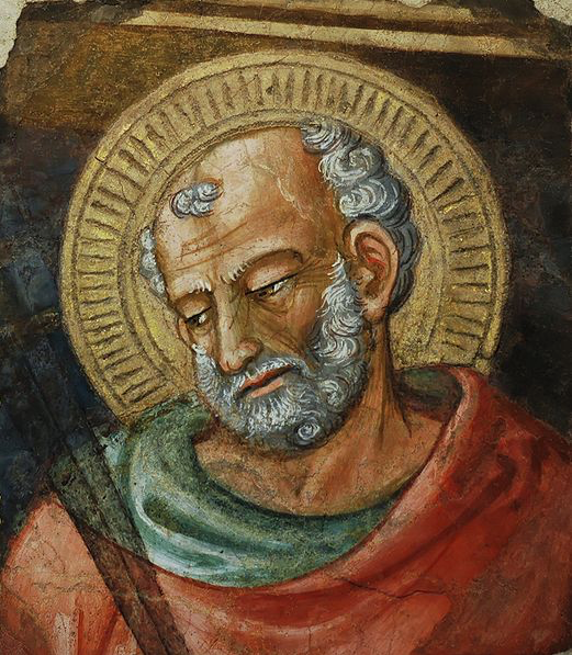 ST. JUDE THADDAEUS - Bicci di Lorenzo (1373–1452) and Workshop of Bicci di Lorenzo (1373–1452) Fragment of a fresco removed from the nave of the Duomo of Florence at the time of the 17th century restoration, conducted by Baccani.