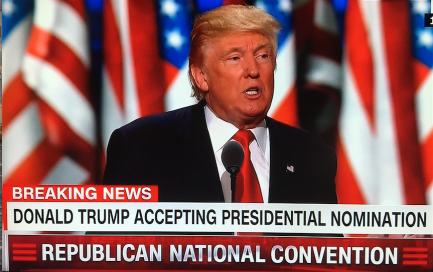 Donald J. Trump gives acceptance nomination speech at the 2016 Republican Convention inCleveland Ohio on July 21, 2016