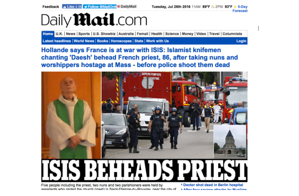FRENCH PRIEST BEHEADED IN NORMANDY, FRANCE - JULY 26, 2016