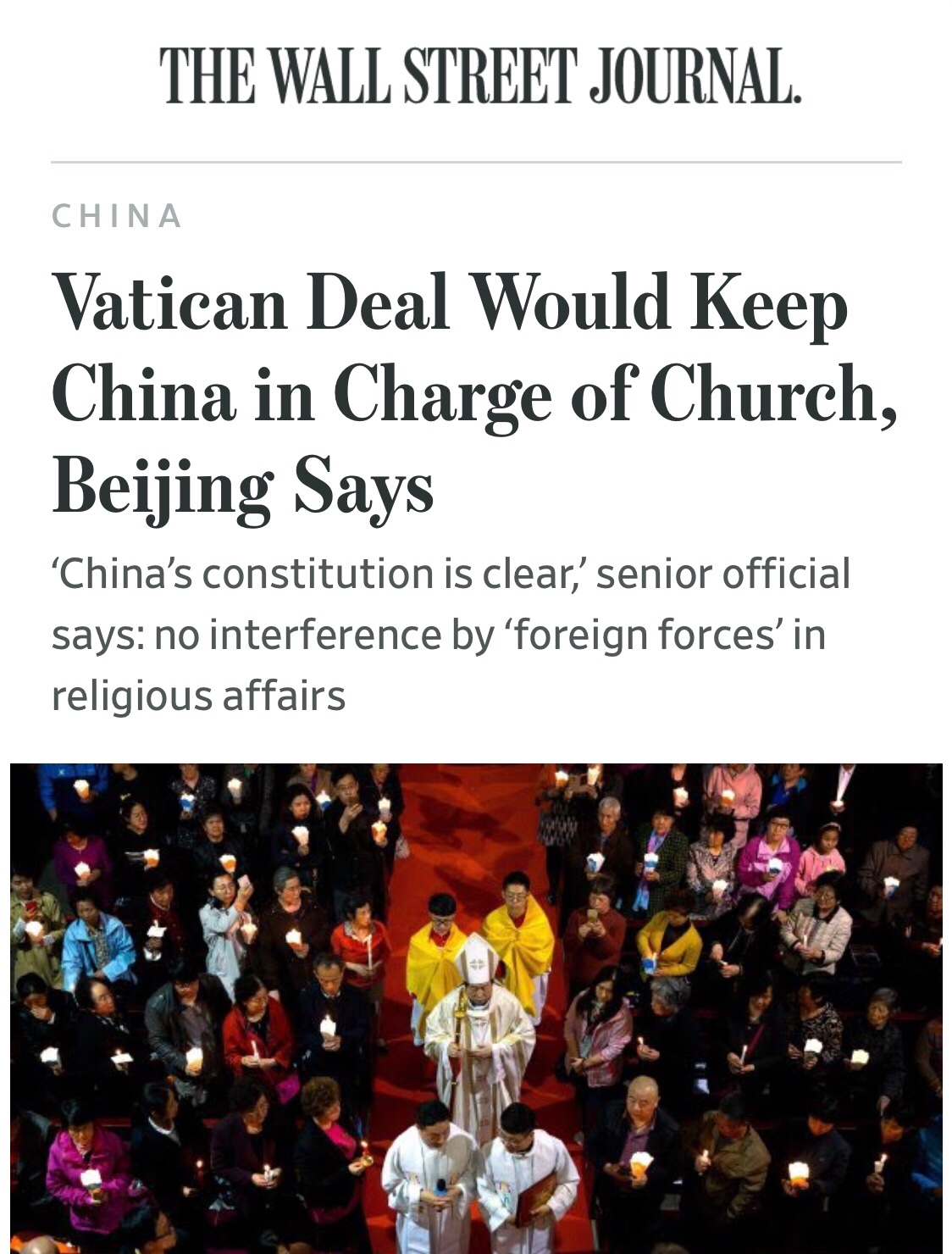 "TRAGIC: ""Vatican Deal Would Keep China in Charge of Church"""